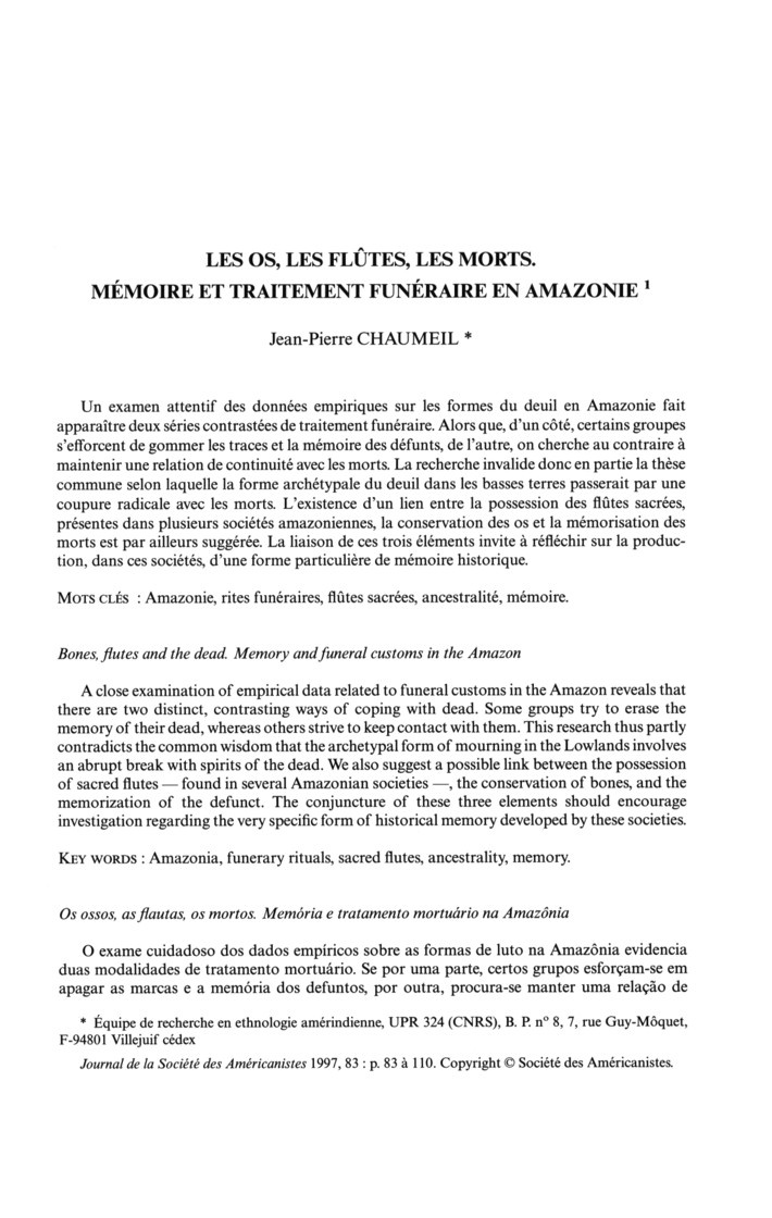 Bones, flutes, and the dead: memory and funeral customs in the Amazon by Jean-Pierre Chaumeil