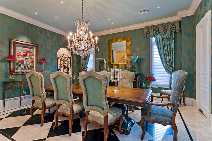 Pin by gloria calvert on florida design pinterest for Peacock blue dining room