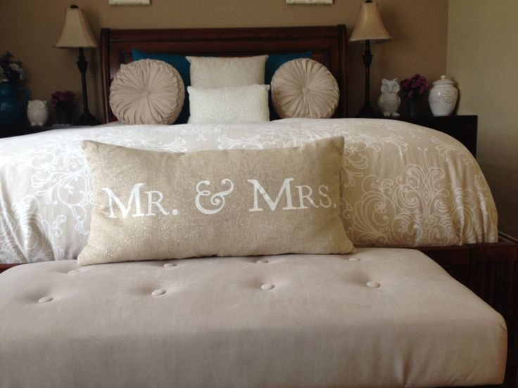 Mr and mrs throw pillow bedroom decor mrs mr pinterest - Bedroom throw pillows ...