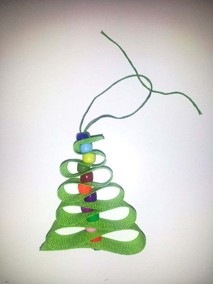 "Girl Scout Christmas Ornament!  Materials Needed: 20"" of Green Ribbon for the Girl Scout color, 20"" of Green Embroidery Thread, a needle and 11 different color beads to match the Daisy petals for the Girl Scout Law!  Super simple for all Girl Scouts to make! Make sure to fuse the ends of the ribbon with a quick touch of a lighter."
