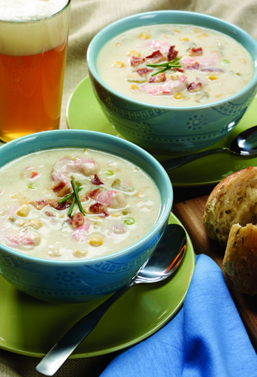 Summer Chowder with Corn, Shrimp & Lager recipe | DRAFTmag.com #beer