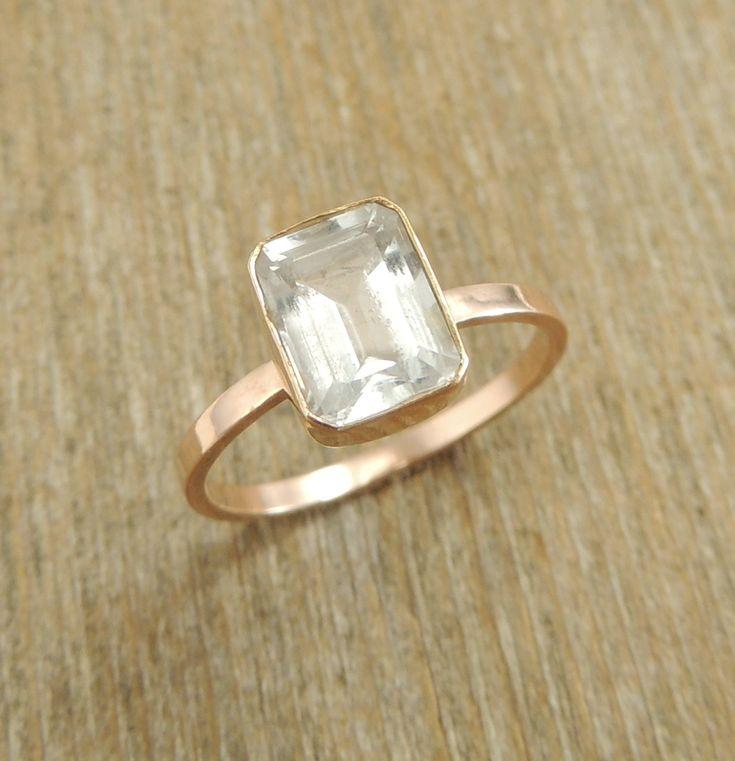 emerald cut white topaz 14k gold ring engagment ring
