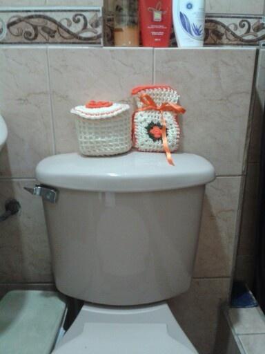 Set De Baño Tejido Al Crochet:Accesorio de baño tejido a crochet para cubrir 1 papel higienico y
