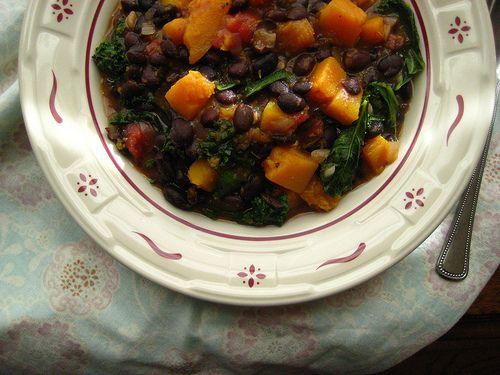 black bean chili w/ butternut squash + kale | Happy Jack Eats