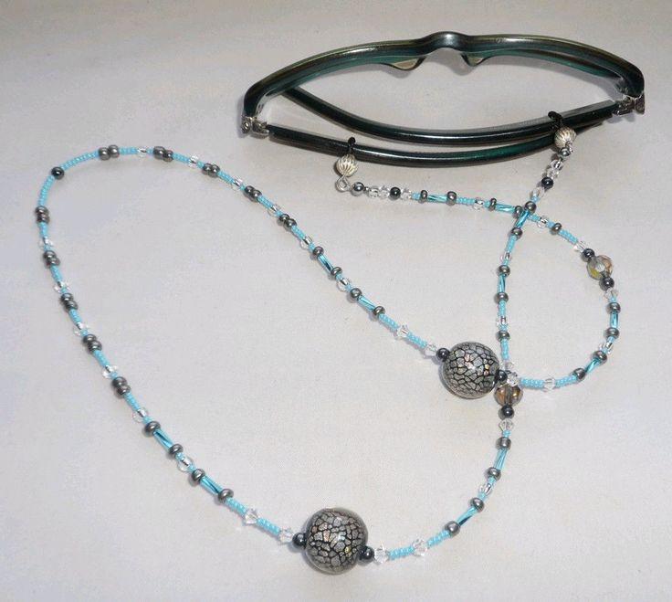 beaded eyeglass sunglass holder baby blue silvery grey