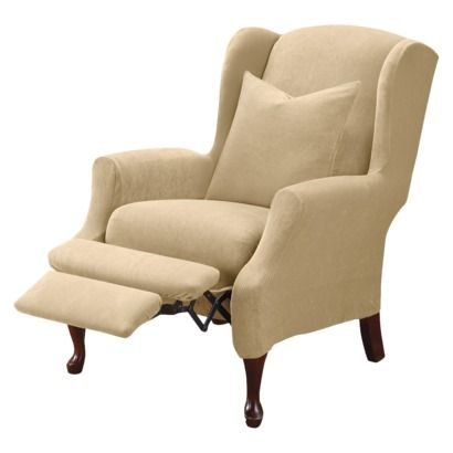 Sure Fit Stretch Pique Wing Recliner Slipcover - Cream