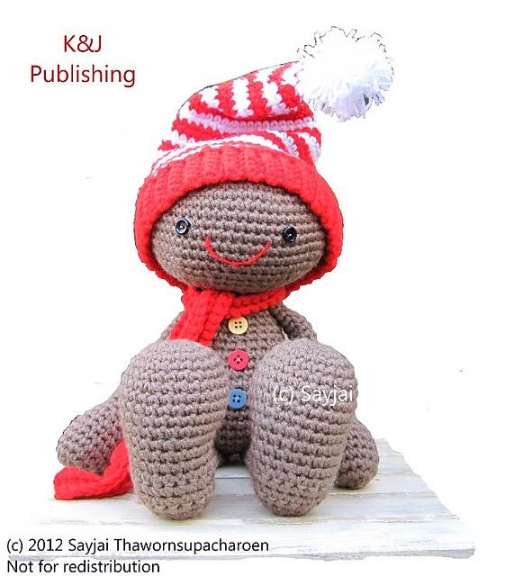 Huggy Gingerbread Man Amigurumi Crochet Pattern pattern by ...