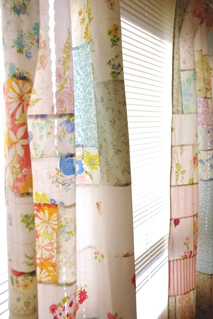 Vintage Sheet Patchwork Curtains Crafty Pinterest
