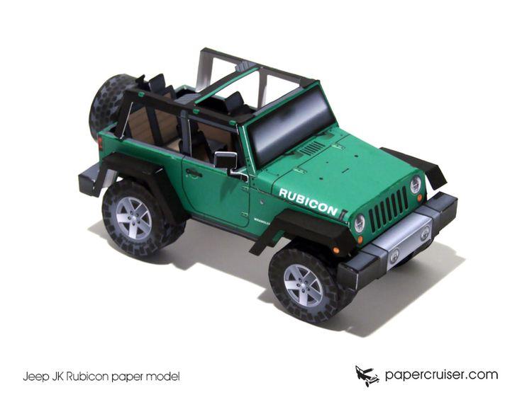 Jeep JK Rubicon paper model   http://papercruiser.com/downloads/jeep-rubicon-jk-open-top/