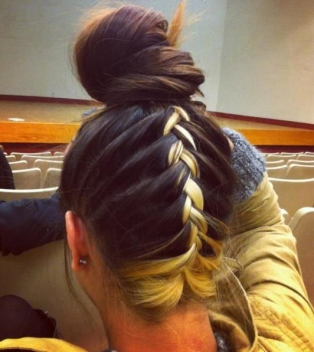 Bun W Upside Down Braid Hairstyles Pinterest