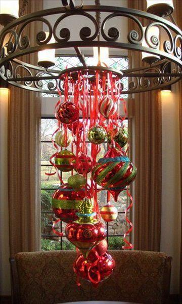 Chandelier decor christmas pinterest for Christmas chandelier decorations ideas