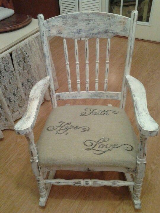 Vintage rocking chair redo.  DIY ideas  Pinterest