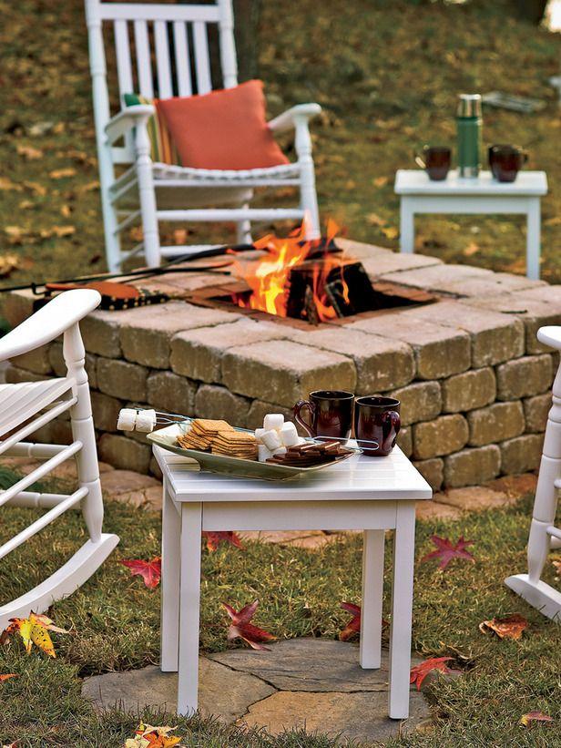 DIY square firepit with bricks & pavers via DIY Network.