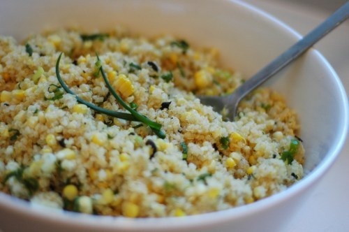 ... quinoa with corn and mint. If I can't find mint I substitute cilantro