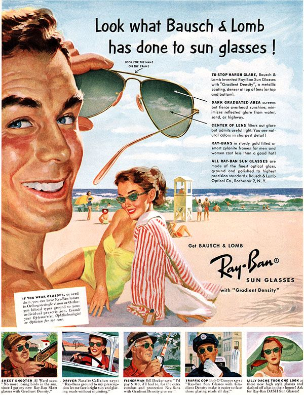 Vintage 1952 ad for Bausch & Lomb Ray-Ban sunglasses