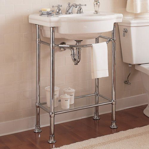 Pin by amy suardi frugal mama on bathrooms pinterest for Pedestal sink with metal legs