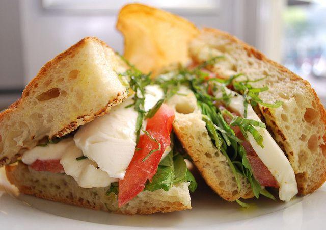tomato mozzarella sandwich | Delicious | Pinterest