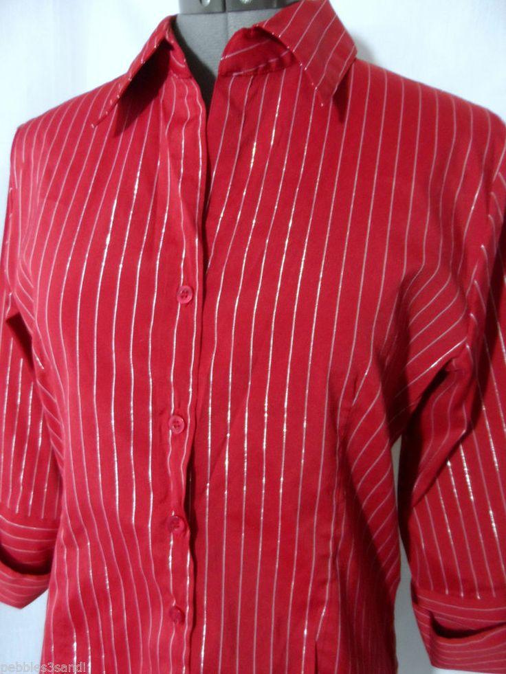 Silver Metallic Stripe Red Dress Shirt Top Womens M V Neck