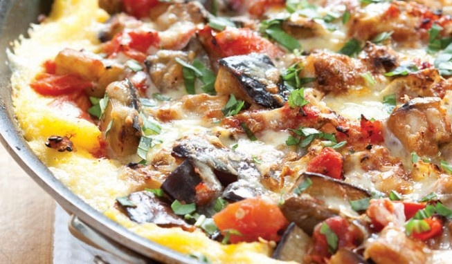 Cheesy Skillet Polenta and Eggplant Bake | Fooooooooooood | Pinterest