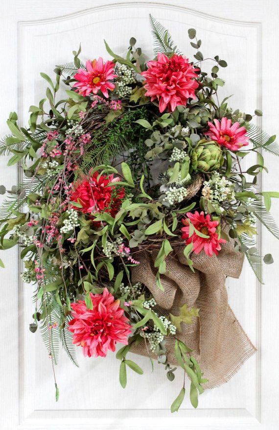 Elegant front door wreath spring amp summer wreath beautiful dahlias