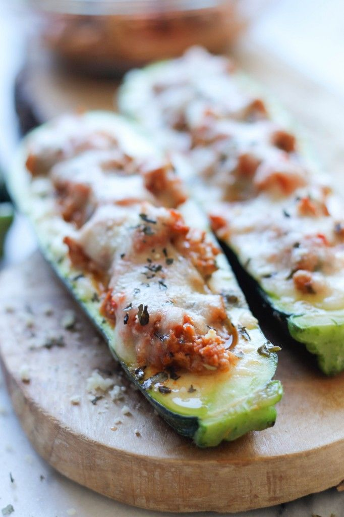 Pizza Stuffed Zucchini Boats - Damn Delicious