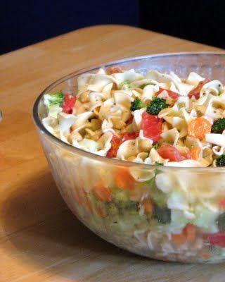 Pasta salad Boil 1 bag wide noodles. Cool. Add your 5 fav veggies. (we ...