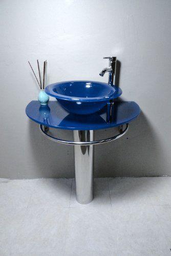 Bathroom Vanities Pedestal Glass Blue Sink Combo W Faucet Home ...