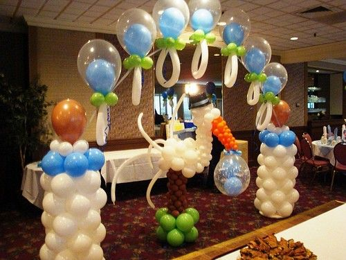 Homemade baby shower centerpieces adornos para baby for Balloon decoration instructions