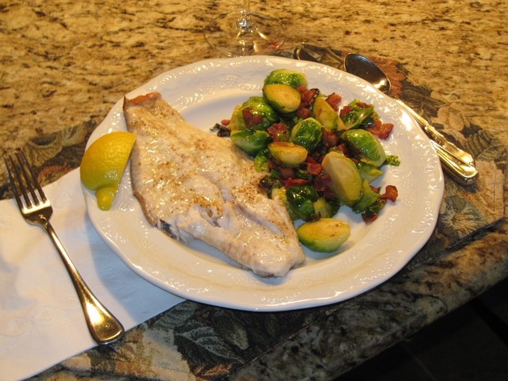 Baked red snapper with sauteed brussels sprouts. Delicious! #paleo