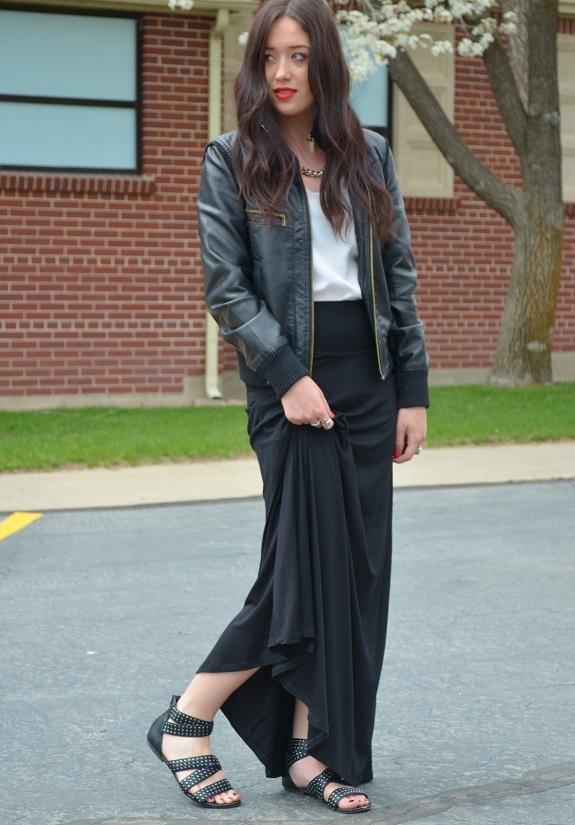 black maxi skirt leather jacket black maxi skirt