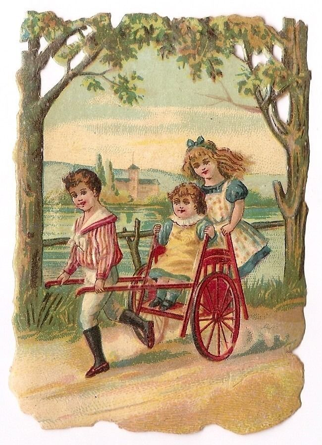 Jeu d enfants -- Attelage Chariot - Chromo ajourée Chocolat Payraud - Trade Card