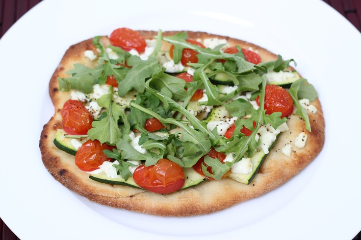 Focaccia Pizza With Zucchini, Tomatoes And Arugula Recipe — Dishmaps