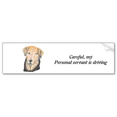 Careful,my personal servant is driving. bumper stickers by www.zazzle.com/artistjandavies*