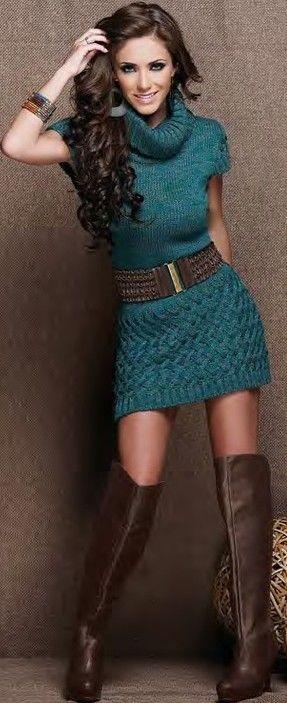 DarkCyan Sweater Dress With Long Boots