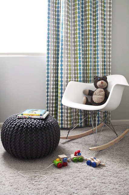 Eames Rocker in babys room  Want to knit a pouf like that for Caedmon.