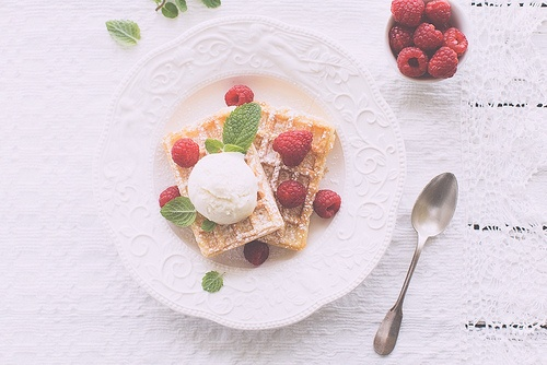Wafer with summer berries and ice-cream | My photos | Pinterest