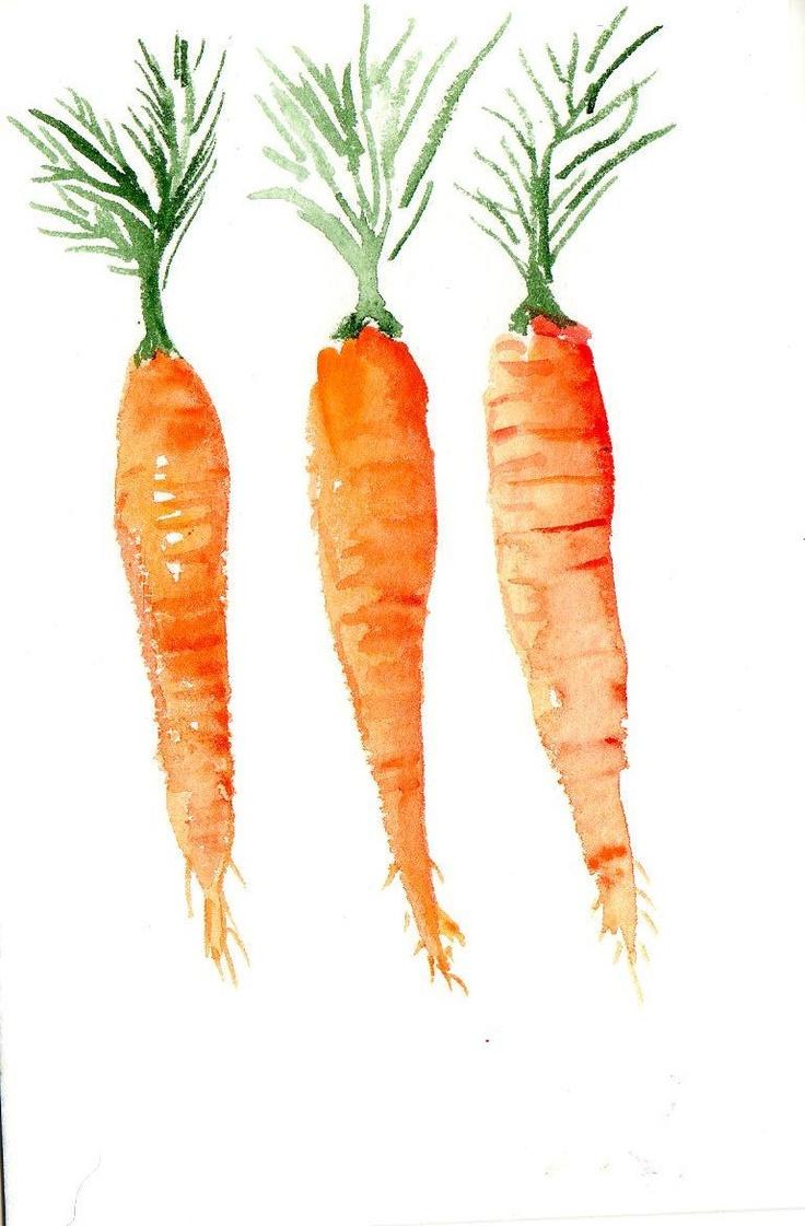 4 X 6 Original Carrots Painting Watercolor