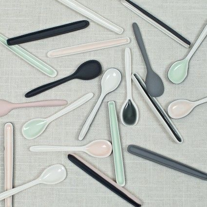 grey, pistachio, black, pink (PORCELAIN DEMITASSE SPOONS from Muhs Home)