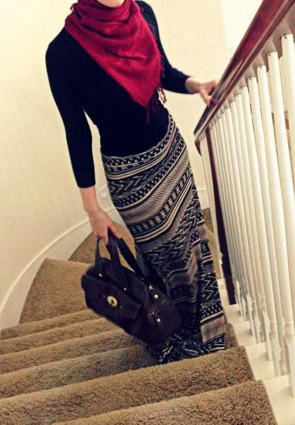 Long skirts in Winter - printed, plain long sleeve T, scarf and tights/leggings if necessary