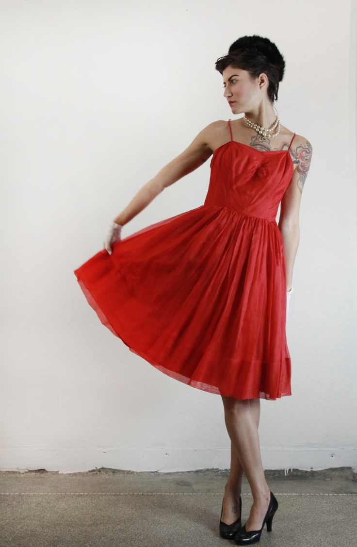 60s Party Dress   Lipstick Red Organza   Formal Wear   1960s   140 00