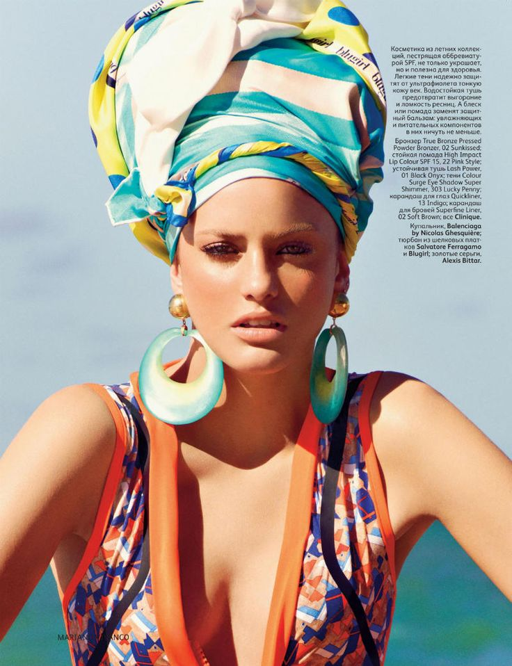 #vogue , #russia , #turban , #missoni , #etro , #balenciaga , #beach , #summer , #swimsuit , #editorial