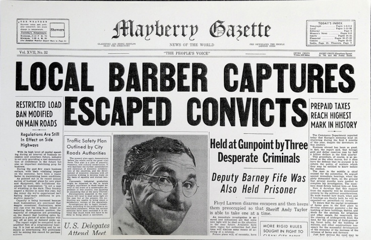 Local Barbers : Local Barber Captures Escaped Convicts Mayberry Pinterest
