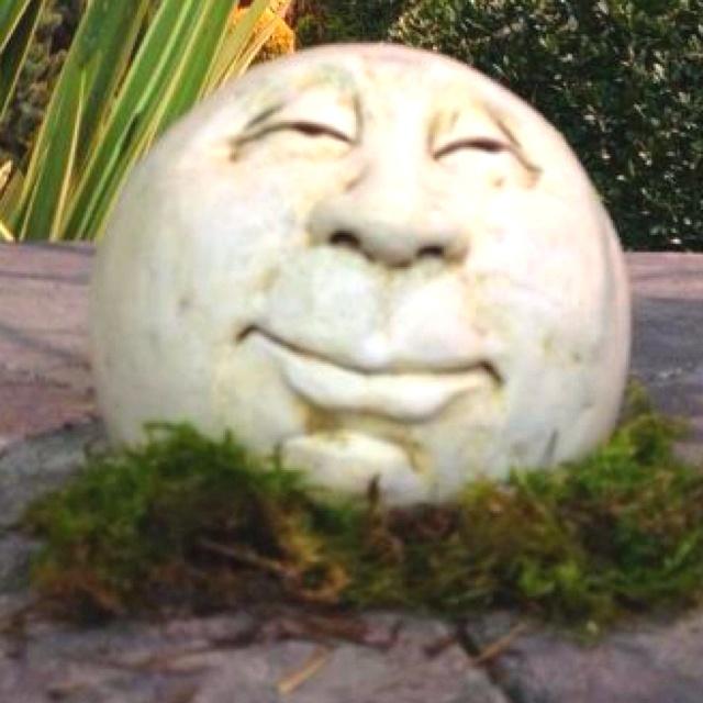 Carved stone face garden yard art pinterest