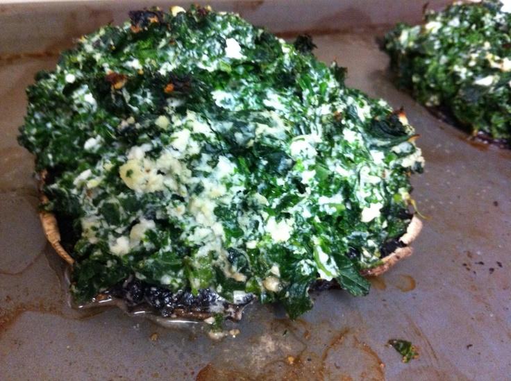 Stuffed Portobello Mushrooms with kale, ricotta and parmesan!