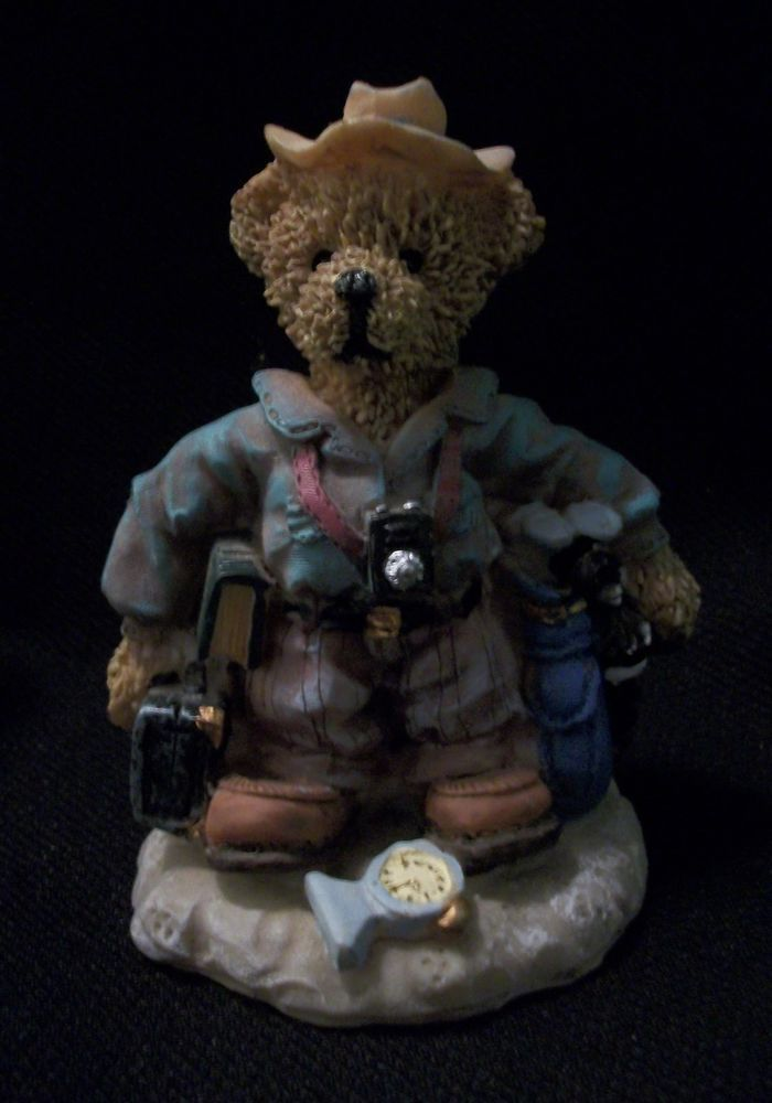 TRAVELING BEAR Figurine with Suitcase. He's Ready to go with His Camera, Golf Clubs, Book & Hat. Excellent Pre-Owned Condition! $15.95 obo (Free S&H)