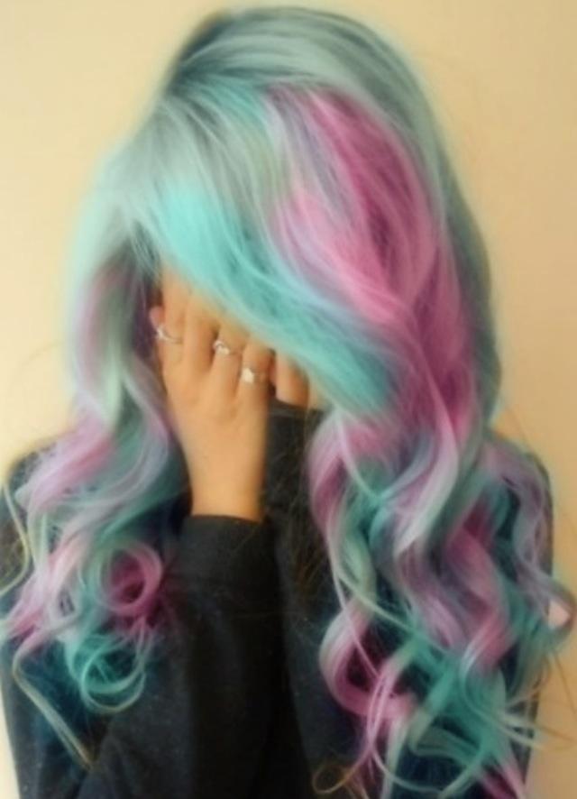Care bear coloured hair!