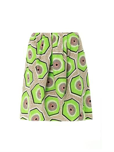 Shop now: Carven Kiwi-print Cotton Skirt