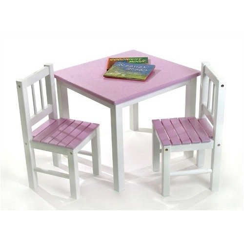 lipper kids small pink and white table and chair set