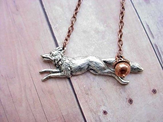 Fox Pendant Woodland Forest Creature Necklace by MySelvagedLife, $26.00