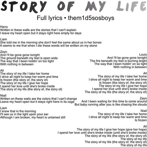 The gallery for --> One Direction Drawing Lyrics Story Of ...